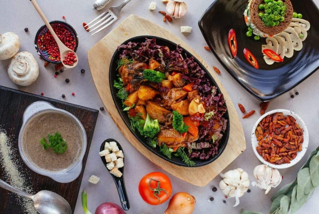 vegan feast for potluck holiday meals