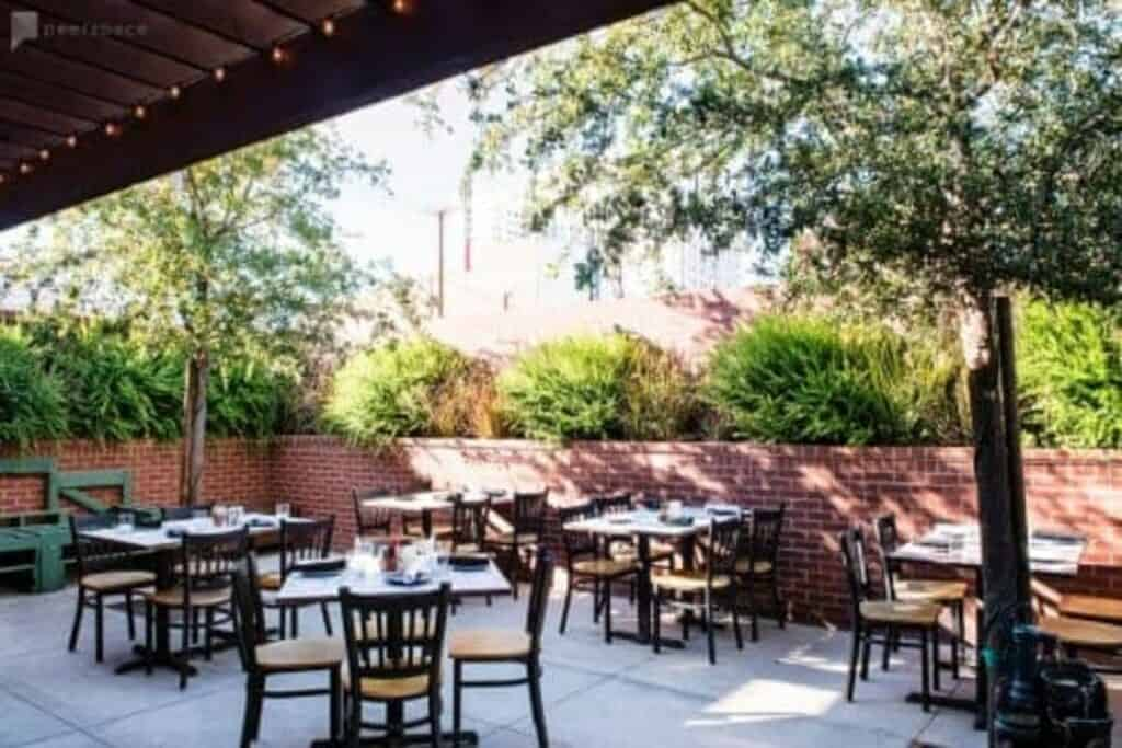 sunny outdoor patio space